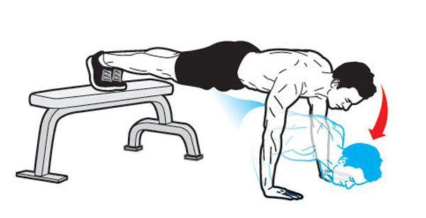 Техника отжиманий с ногами на скамье