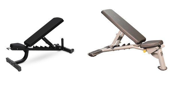 Выбор наклонной скамьи для работы с гантелями на грудные мышцы.